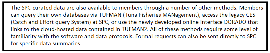 Text box : The SPC-curated data are also available to members through a number of other methods. Members can query their own databases via TUFMAN (Tuna Fisheries MANagement), access the legacy CES (Catch and Effort query System) at SPC, or use the newly developed online interface DORADO that links to the cloud-hosted data contained in TUFMAN2. All of these methods require some level of familiarity with the software and data protocols. Formal requests can also be sent directly to SPC for specific data summaries.Formal requests can also be sent directly to SPC for specific data summaries.
