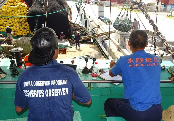 Two fisheries observers monitor tuna catch on purse-seine vessel. Photo: Hilary Hosia.