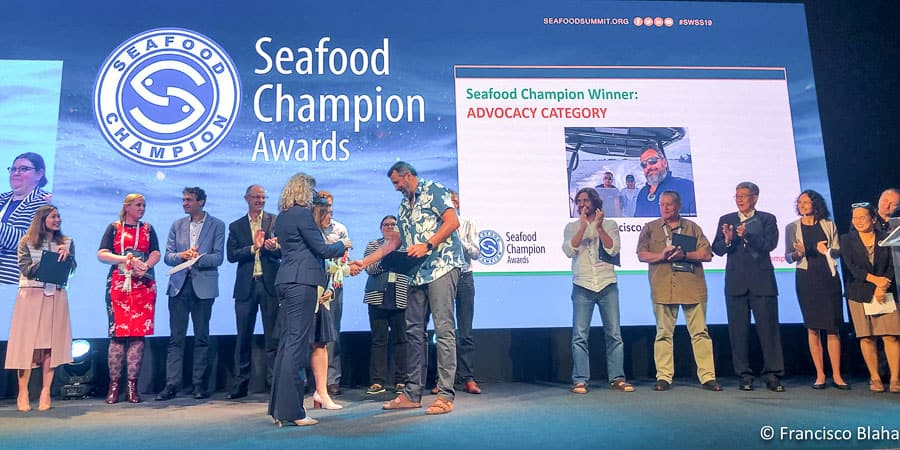 Francisco Blaha on stage being awarded the SeaWeb Seafood Champion for advocacy in Bangkok in June 2019 (Photo: Francisco Blaha)