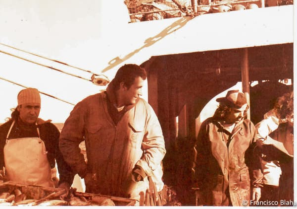 Francisco (centre) in his early fishing days, on a trawler in the South Atlantic Ocean in 1990 (Photo: Francisco Blaha)