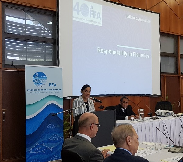 Dr Manu Tupou-Roosen addresses regional judicial symposium responsibility in fisheries