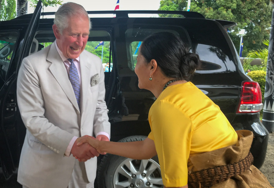 HRH, the Prince of Wales being welcomed at the FFA Secretariat by Dr Tupou-Roosen. Photo: FFA.