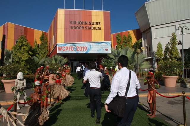 Dancers welcome people attending 16th regular session of the Western and Central Pacific Fisheries Commission (WCPFC16) in Port Moresby