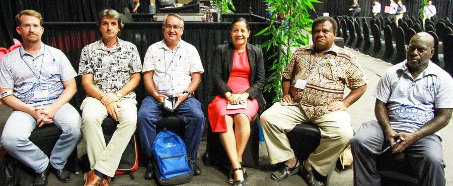 Finally able to relax after the intense days of the WCPFC16 meeting: sitting together L–R, Mr Bubba Cook (World Wildlife Fund), Mr Graham Holmes (Pew Charitable Trusts), Mr Eugene Pangelinan (Forum Fisheries Committee), Dr Manu Tupou-Roosen (Forum Fisheries Agency), Mr Noan Pakop (Nationa Fisheries Agency), and Mr Ludwig Kumoro (Parties to the Nauru Agreement Office)