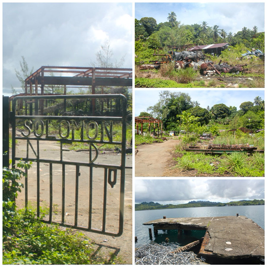 Composite of four photos showing remains of Solomon Taiyo/National Fisheries Development (NFD) base on Tulagi Island, Central Islands province, Solomon Islands. Photos: Ronald F. Toito'ona