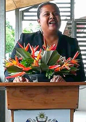 Rosalie Masu from the Solomon Islands Ministry of Fisheries & Marine Resources addresses the group. Photo supplied.