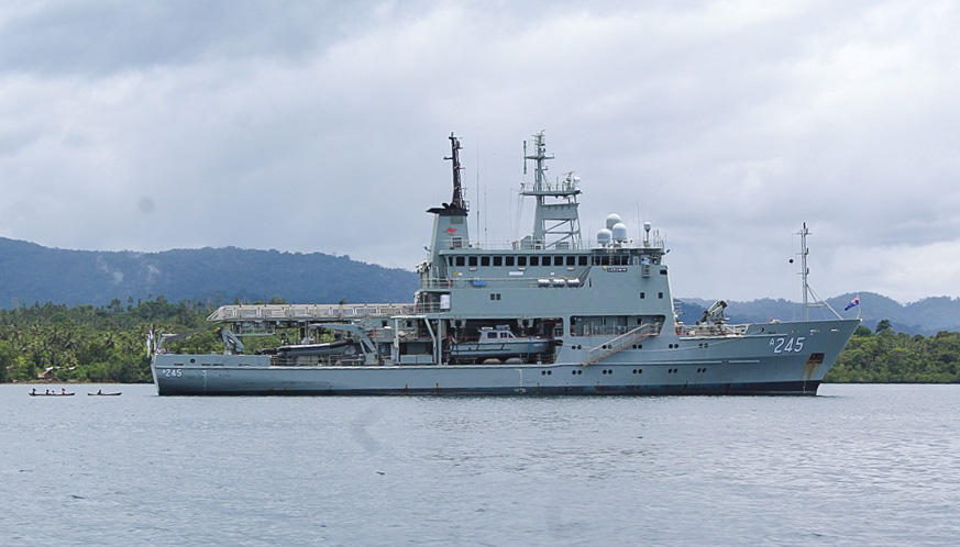 Australia survey vessel Leeuwin surveying Bina Harbour in November 2019. Photo: Wilson B. Saeni.
