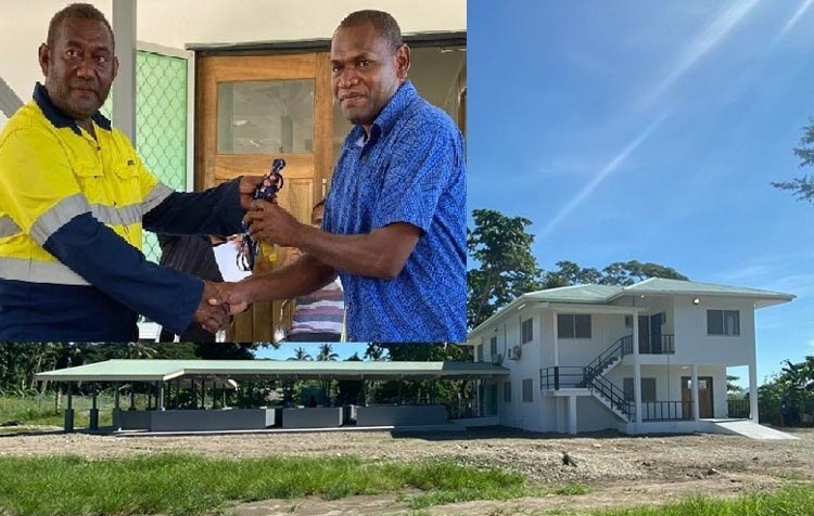 Patterson Lusi (inset, on right) accepts the keys to the newly completed office building (main photo) of Aruligo tilapia hatchery in Guadalcanal. Photo: Simon Tavake.