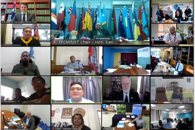 Screen shot of ministers and senior government officials at online 17th FFC Ministers meeting