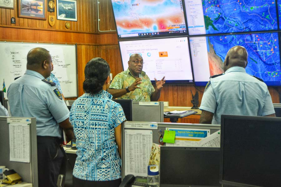 FFA Director of Fisheries Operations Division, Mr Allan Rahari, giving a brief overview of the roles and functions of the Regional Fisheries Surveillance Centre (RFSC). Photo: FFA Media.