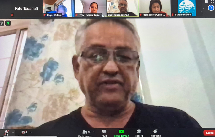 Eugene Pangelinan, Chair, Forum Fisheries Committee, December 2020-screenshot taken during online media conference