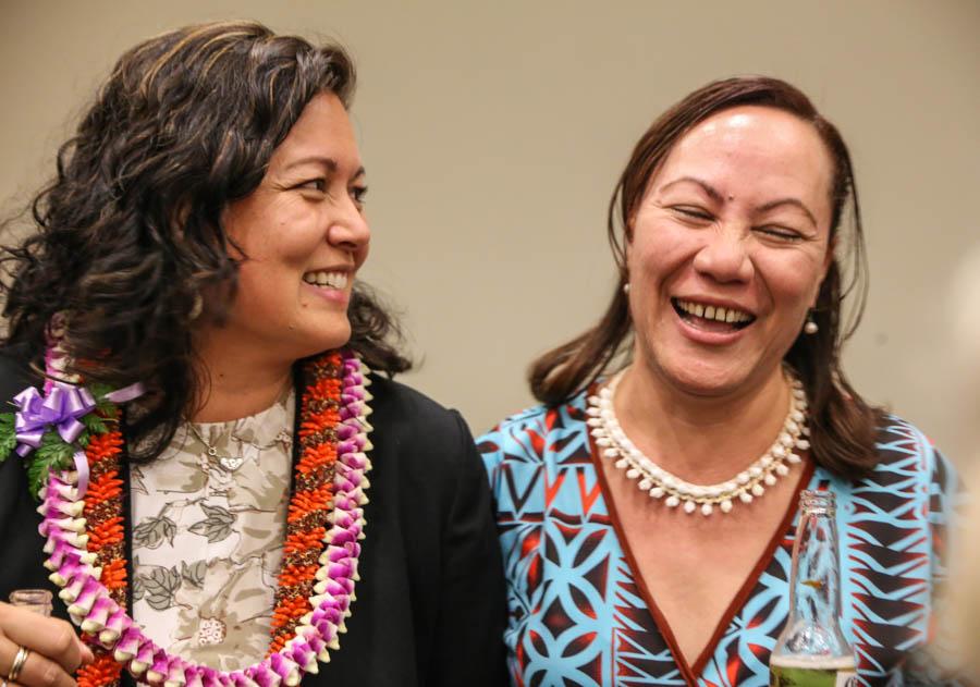 Head and upper body photo of Rhea Moss-Christian, left, and 'Ana Finau Taholo, right