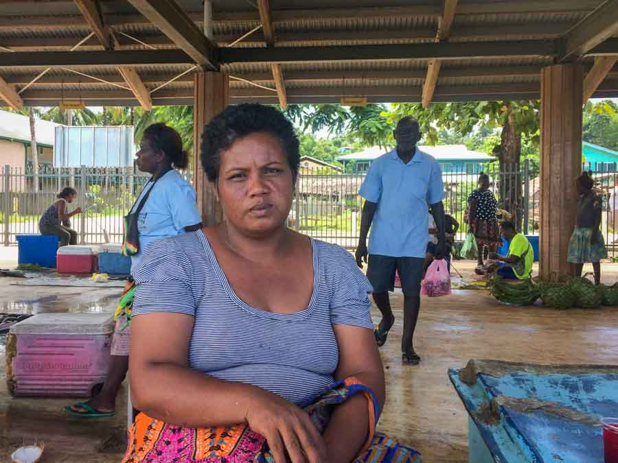 Ms Namu Avo, from the Babanga community, outside Gizo Island, often sells fish at the Gizo Fish Market. She has questioned differences in fees charged to sell fish. Photo: George J. Maelagi.