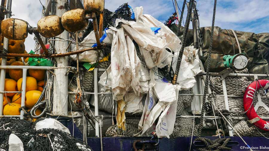 On a purse-seine tuna fishing vessel, buoys, netting, and used plastic salt bags. Photo: Francisco Blaha.