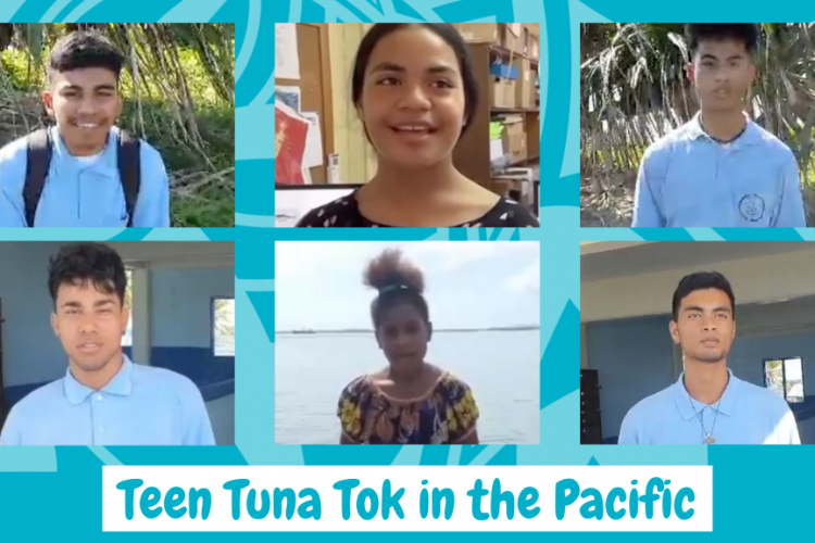 Screen grabs of six young people of the Pacific Islands posing questions for FFA- and SPC-hosted Teen Tuna Tok to celebrate World Tuna Day 2021. Image: FFA.
