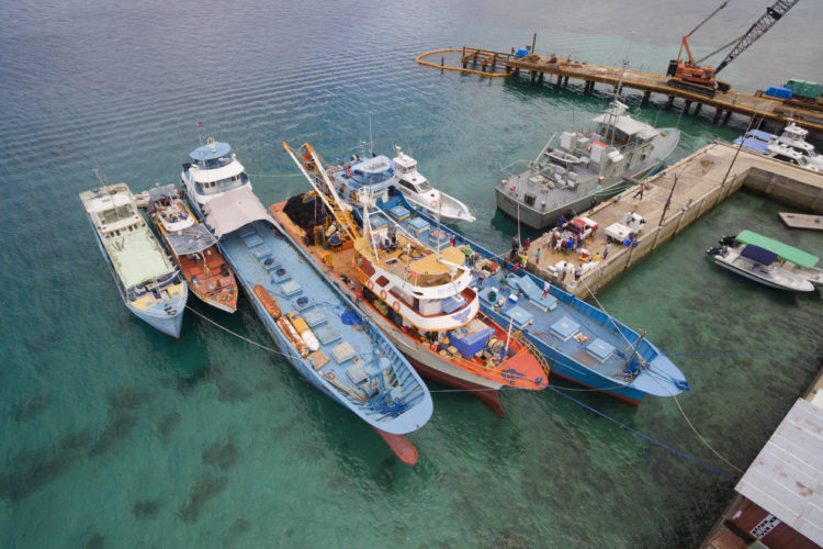 Aerial image of Philippines vessels seized for fishing for tuna illegally in Palau waters. Photo: Richard W. Brooks.