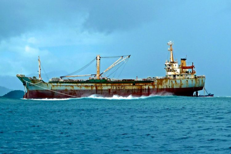 Chinese owned tuna carrier on the reed near Pohnpei lagoon, Federated States of Micronesia. Image: Francisco Blaha.