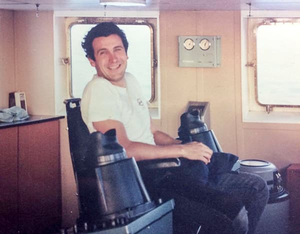 Francisco at work on bridge of a ship for first timel, in the South Atlantic in 1989 (Photo: Francisco Blaha)