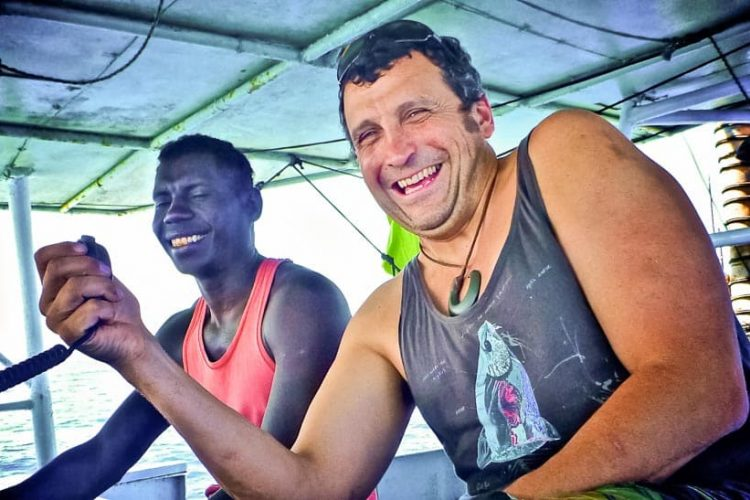Francisco and a Solomon Islander at work on a pole-and-line vessel in 2010 (Photo: Francisco Blaha)