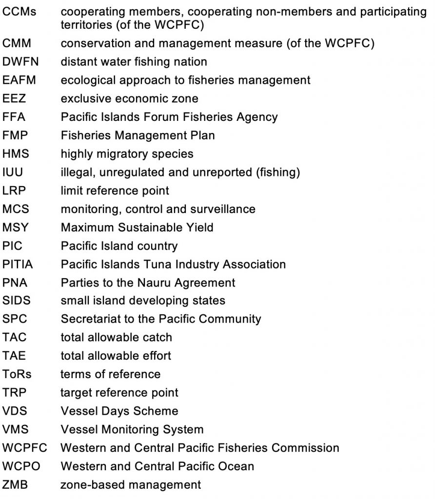 Acronyms in common use at WCPFC16