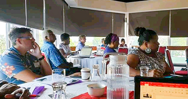Participants listen to a guest speaker at the February One Ocean Hub workshop in the Pacific. Photo: Dr Transform Aqorau.