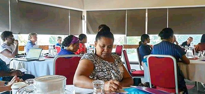 Solomon Islands government representative Rosalie Masu takes notes during the One Ocean Hub workshop. Photo: Dr Transform Aqorau.jpg