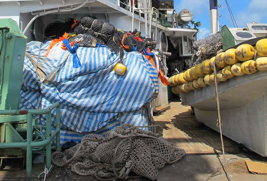 Drifting FADs on deck of a purse-seine vessel, Micronesia. Photo: Pew Charitable Trusts.