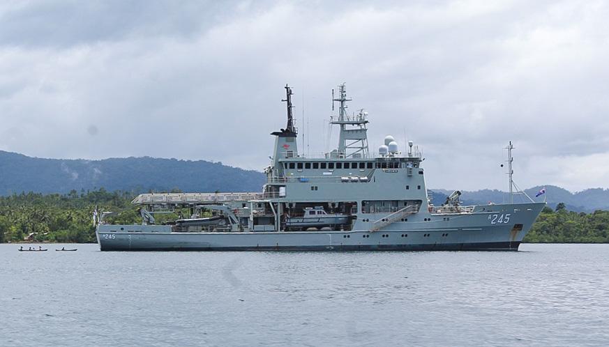 Australia survey vessel Leeuwin surveying Bina Harbour in November 2019. Photo: Wilson B. Saeni.