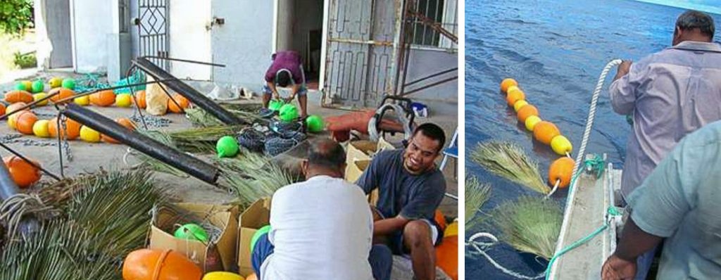 composite photo. Left image 3 men with leaves, floats, anchors, making anchored fish-aggregating devices. Right photo: two men on a small boat at sea feeding anchored FADs into the water. Photos: Forum Fisheries Agency.
