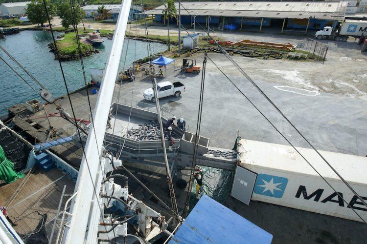 Maersk Line star loaders on dock at Noro port, Solomon Islands