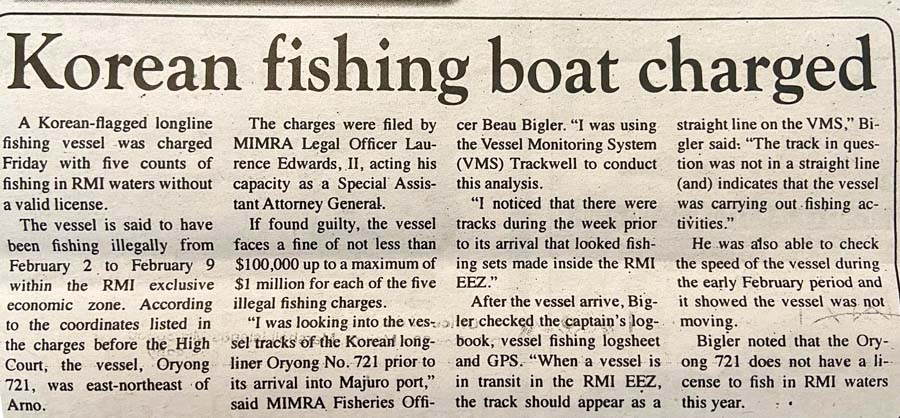 image of newspaper story on charges laid in Marshall Islands against a Korean longline fishing vessel