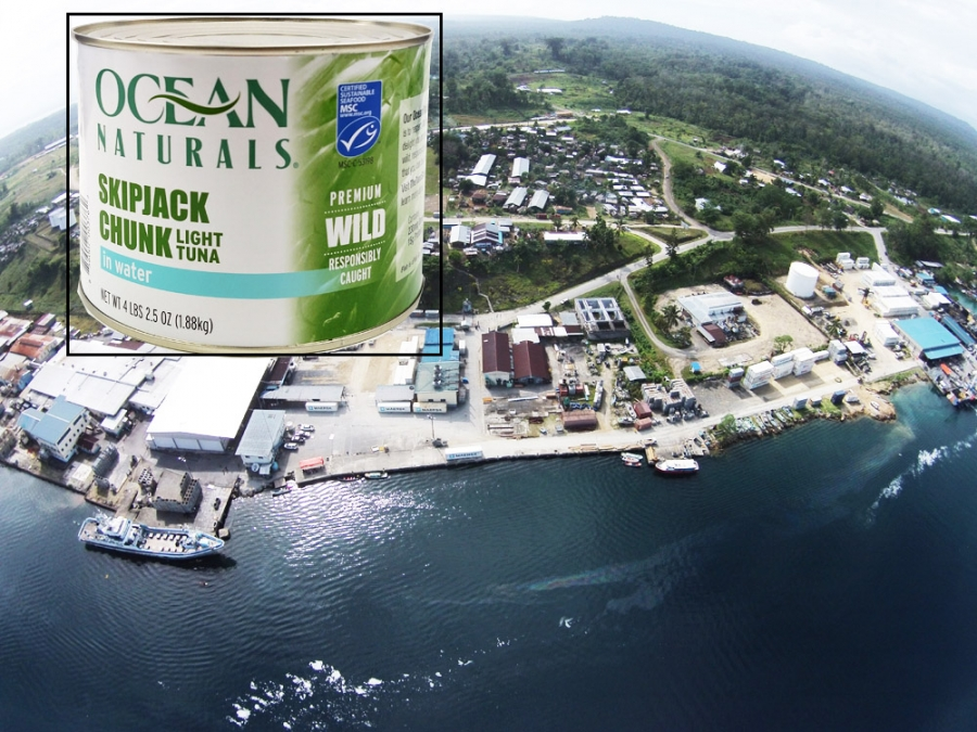Aerial photo of Noro, Solomon Islands, with inset photo of can of Ocean Naturals skipjack tuna. Photo Solomon Star