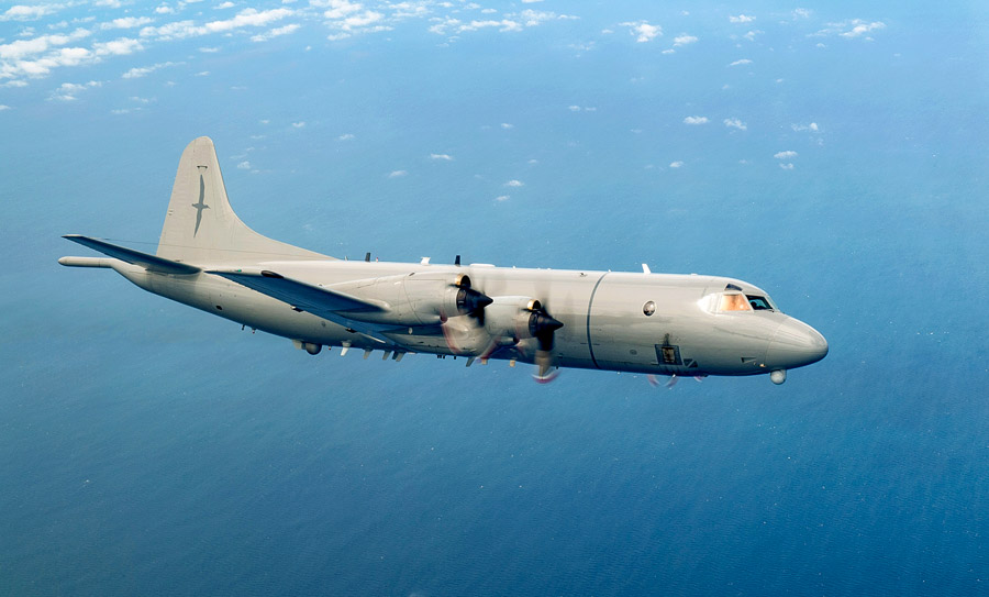 The RNZAF P-3K2 Orion aircraft in flight over sea during a recent regional aerial surveillance. Photo: NZDF.