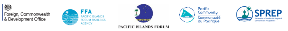 logos of UK Foreign, Commonwealth and Development Office; Pacific Islands Forum Fisheries Agency; Pacific islands Forum; Pacific Community; and Secretariat of the Pacific Regional Environmental Programme
