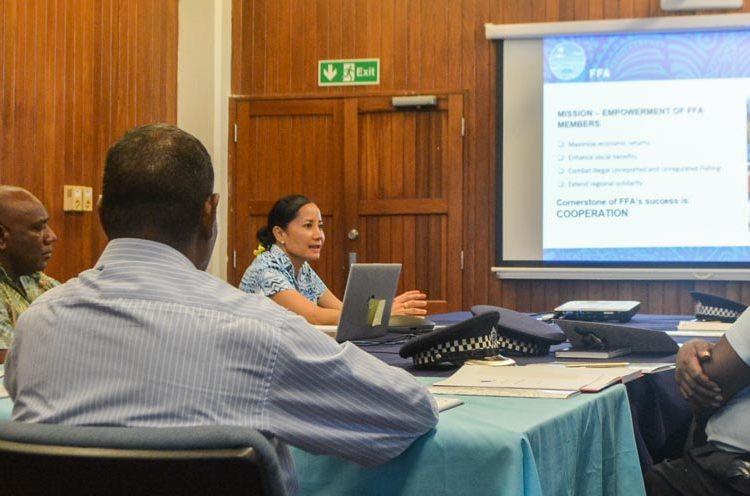 FFA Director-General, Dr Manumatavai Tupou-Roosen, briefing the visiting executive officials from the Royal Solomon Islands Police Force (RSIPF) during their visit to the FFA headquarters in Honiara on Tuesday, 8 September 2020. Photo: FFA Media.