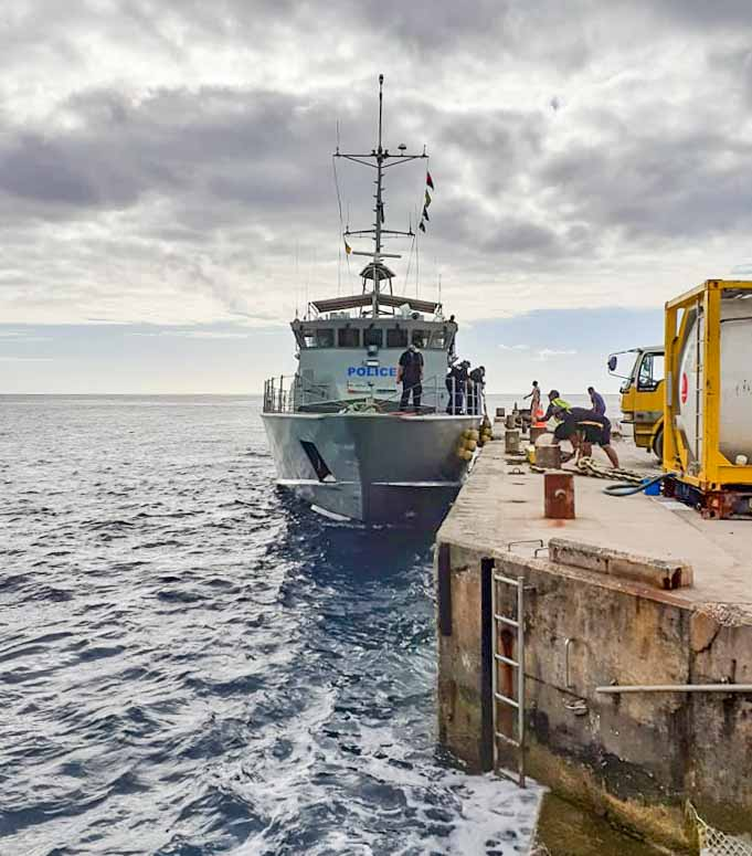 Cook Island Pacific Patrol Boat Te Kukupa at Alofi Wharf, Niue, during 2020 surveillance Operation Island Chief. Photo: Niue NHQ.