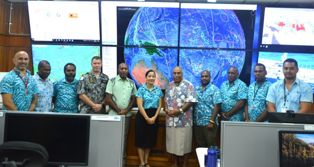 FFA staff with Mr Beck and his delegation at the Regional Fisheries Surveillance Centre