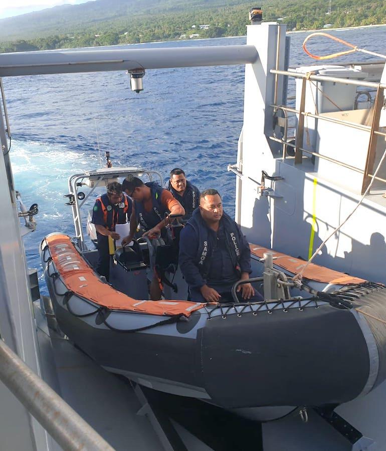 GCPB Nafanua II being deployed for vessel boarding inspection during Operation Kurukuru. Photo: Samoa NHQ.