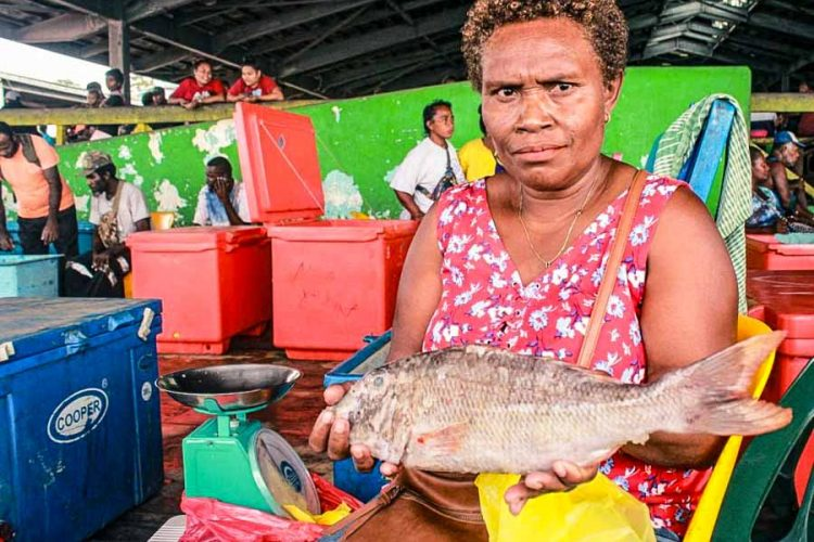 Emily Kawa often sells fish at the Vaivila Fishing Village Market and Honiara Central Markets, Solomon Islands. She sits at a stall with a fish in her hands. Next to her is a set of scales and a chiller box. Photo: George Maelagi.