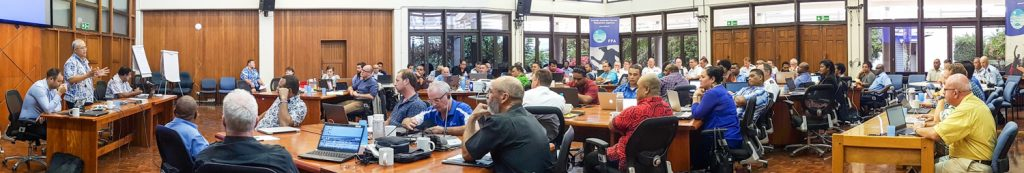 Pacific fisheries officials and their collaborating partners at the annual MCS Working Group meeting at FFA headquarters, Honiara, Solomon Islands, 2017. Photo: Fatu Tauafiafi/Pacific Guardians.