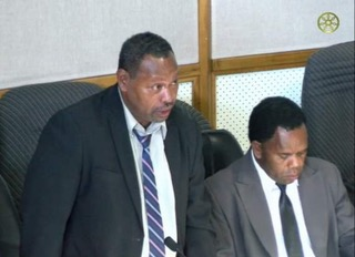 Minister for Fisheries and Marine Resources Nesto Ghiro (left). Photo: Solomon Islands Parliament Media.