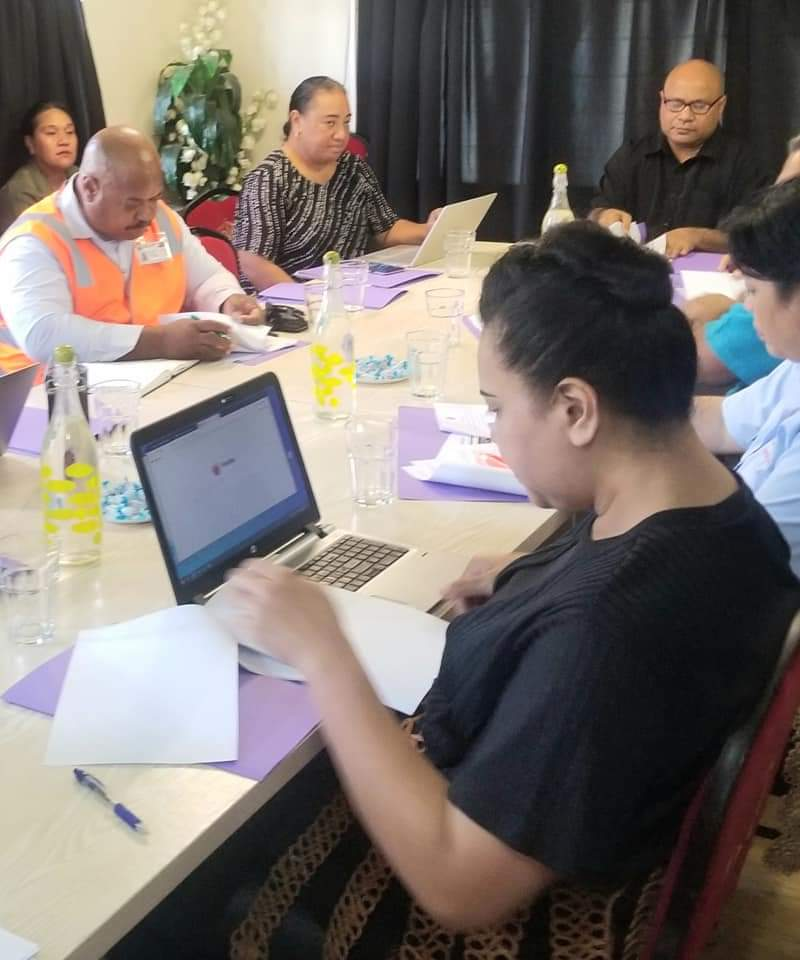 Officials attending a Tonga Ocean 7 meeting in February included (at the front), the Hon. Frederica Tuita Filipe, of the Foreign Affairs Ministry, and (at the back in a black shirt) Dr Halafihi, the CEO of the Fisheries Ministry, who chaired the meeting.