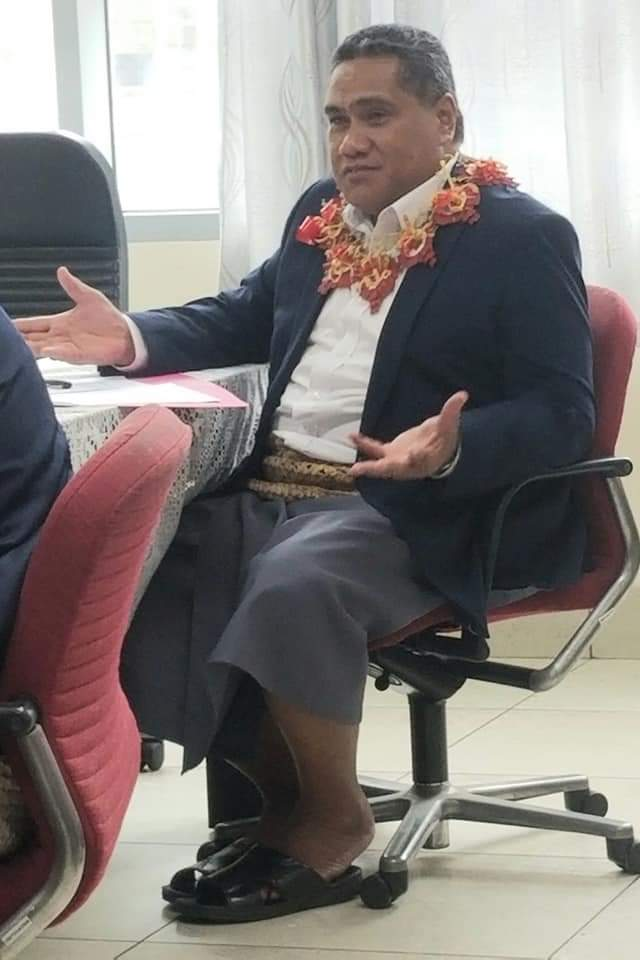 The CEO of Tonga's environment ministry, Mr Paula Ma'u, at a meeting in early 2021