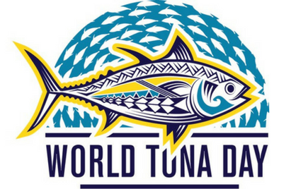 Pacific Islands Forum Fisheries Agency logo for World Tuna Day 2021 shows a tuna decorated with Pacific Island motifs with a sea of tuna behind it