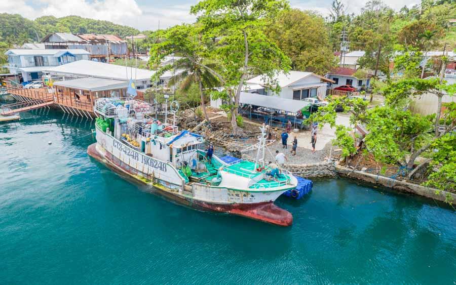 Palau's only longline fishing vessel docks to unload its catch. Photo: Richard Brooks.