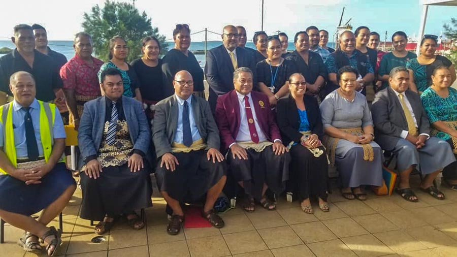 Two rows of dignitaries and guests at Tonga World Oceans Day 2021, with Tongan environment minister Hon. Poasi Tei 4th from left in front row. Photo Iliesa Tora.