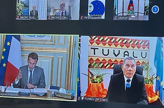 Screenshot of Zoom meeting with multiple heads of state showing from Tuvalu and France