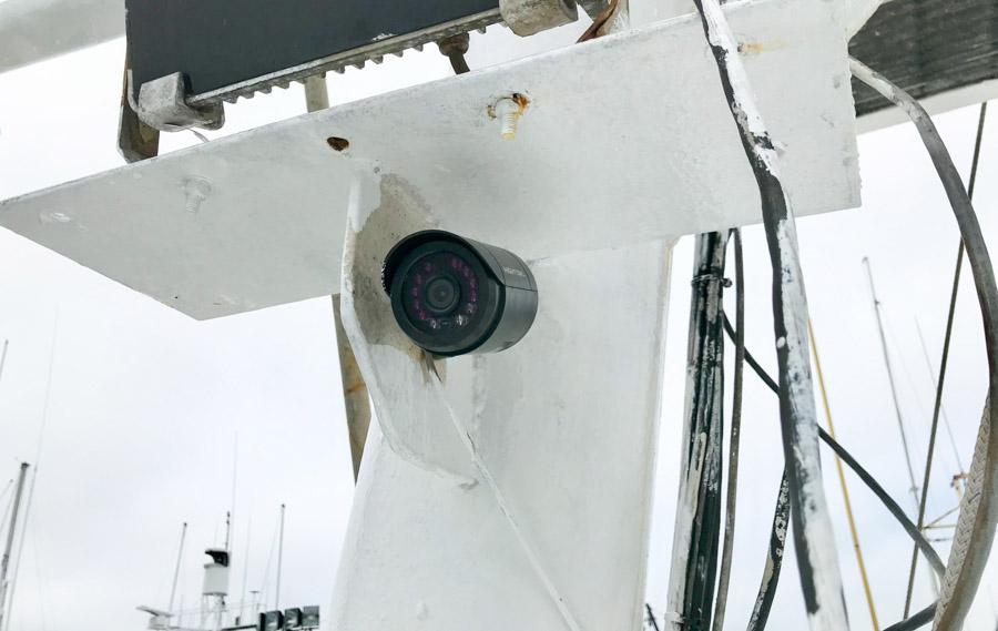 Electronic monitoring camera on fishing vessel. Photo Esther Wozniak.
